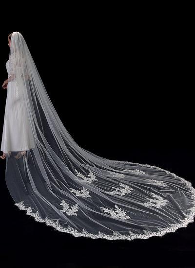 Uno capa Con Aplicación de encaje Velos de novia capilla con Encaje