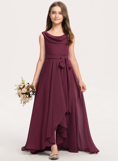 A-Line Cowl Neck Asymmetrical Chiffon Junior Bridesmaid Dress With Bow(s)