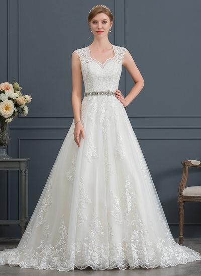 Robe Marquise/Princesse Col V Traîne moyenne Tulle Robe de mariée