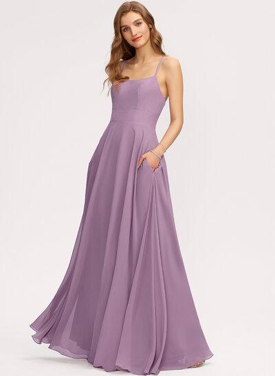 Çan Yuvarlak Yaka Uzun Etekli Şifon Nedime Elbisesi Ile Cepler