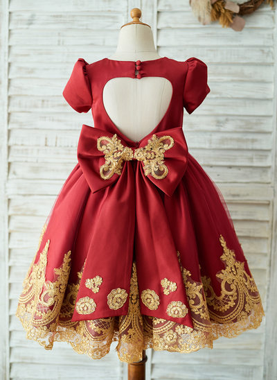 A-Line/Princess Knee-length Flower Girl Dress - Satin/Tulle Short Sleeves Scoop Neck With Bow(s)