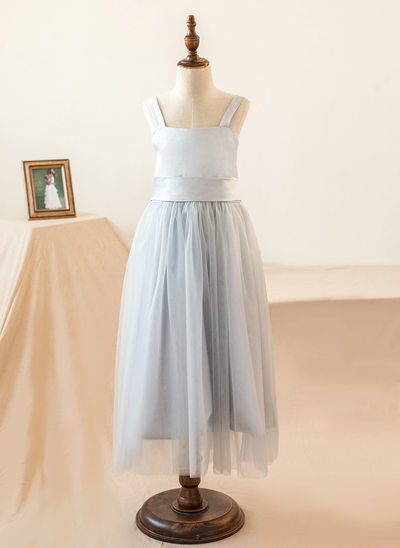Empire Tea-length Flower Girl Dress - Satin/Tulle Sleeveless Straps With Bow(s)