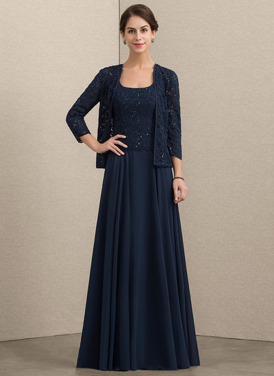 A-Line/Princess Square Neckline Floor-Length Chiffon Lace Mother of the Bride Dress With Sequins