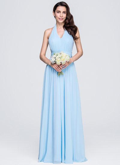 A-Line/Princess Halter Floor-Length Chiffon Bridesmaid Dress With Ruffle Bow(s)