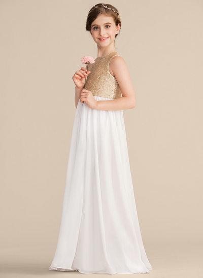 A-Linie/Princess-Linie U-Ausschnitt Bodenlang Chiffon Pailletten Kleid für junge Brautjungfern