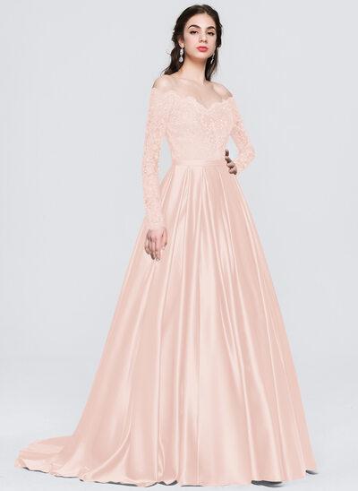 Balo Elbisesi/Prenses Off-Omuz Kuyruklu Saten Mezuniyet Elbisesi Ile boncuklu kısım