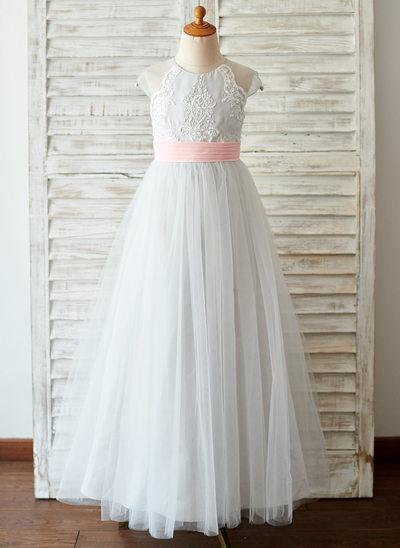 Çan/Prenses Uzun Etekli Çiçek Kız Elbise - Tül/Dantel Kolsuz Yuvarlak Yaka Ile boncuklu kısım Geri alınamayan kanepeler