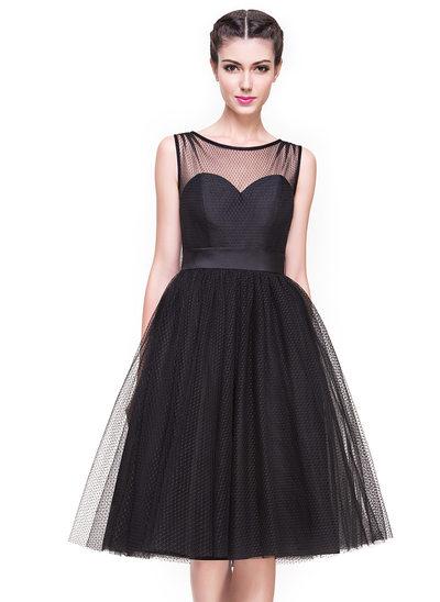 Vestidos princesa/ Formato A Decote redondo Coquetel Tule Vestido de cocktail com Curvado