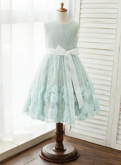 A-Line/Princess Knee-length Flower Girl Dress - Satin Sleeveless Scoop Neck With Sash