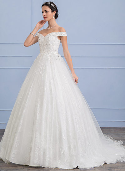 Duchesse-Linie Off-the-Schulter Sweep/Pinsel zug Tüll Lace Brautkleid mit Perlstickerei Pailletten
