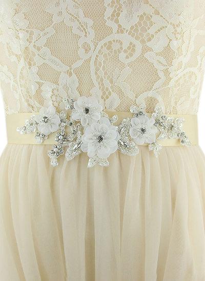 Mode Satin Schleifenbänder/Stoffgürtel mit Blume/Strasssteine/Faux-Perlen