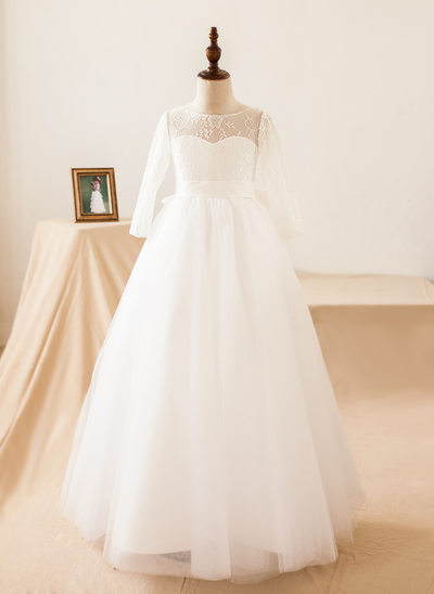 A-Line/Princess Floor-length Flower Girl Dress - Tulle/Lace Long Sleeves Scoop Neck With Bow(s)/V Back