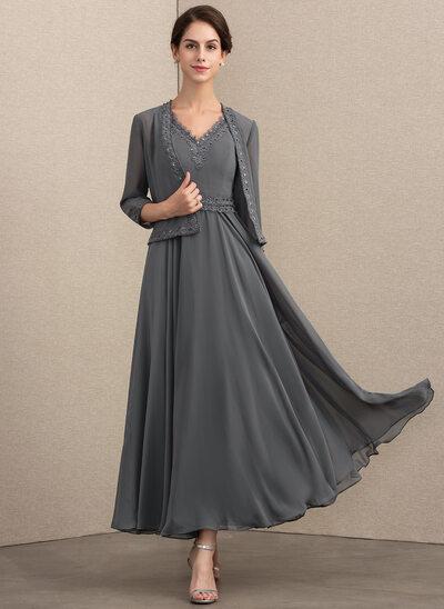 A-Linie/Princess-Linie V-Ausschnitt Knöchellang Chiffon Kleid für die Brautmutter mit Perlstickerei Pailletten