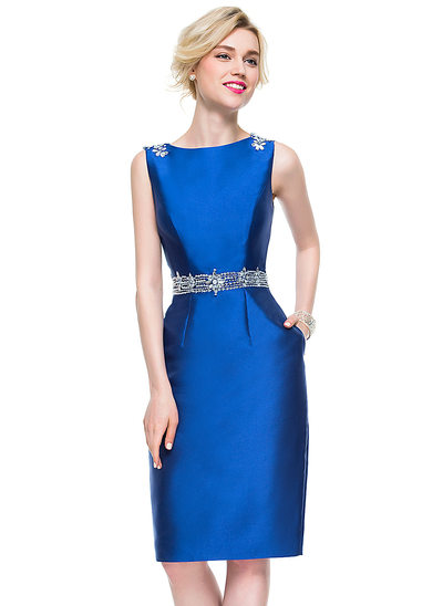 Sheath/Column Scoop Neck Knee-Length Satin Cocktail Dress With Beading Sequins Pockets