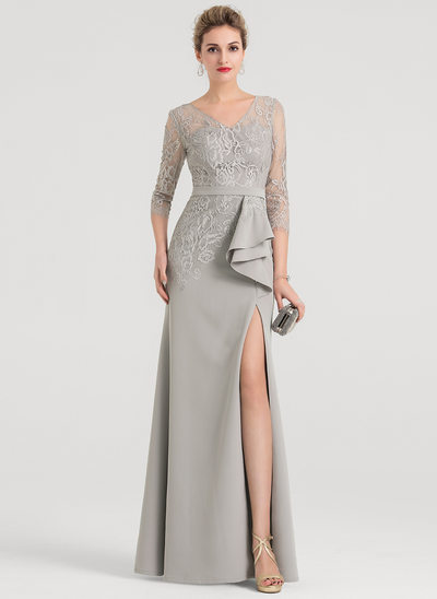 Sheath/Column V-neck Floor-Length Satin Evening Dress With Split Front