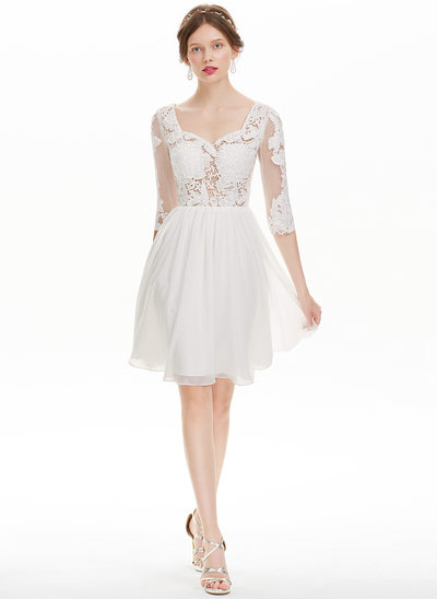 A-Line/Princess Sweetheart Knee-Length Chiffon Homecoming Dress