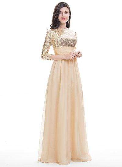 A-Line/Princess Scoop Neck Floor-Length Chiffon Prom Dress With Ruffle