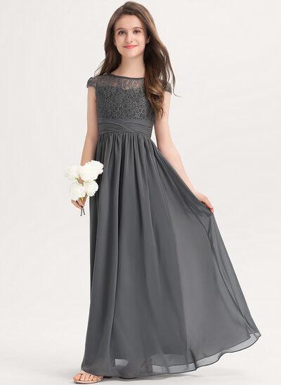 A-Linie U-Ausschnitt Bodenlang Chiffon Spitze Kleider für junge Brautjungfern mit Rüschen