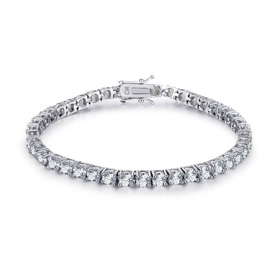 Platinum Plated Tennis Bridal Bracelets With Cubic Zirconia - Valentines Gifts For Her