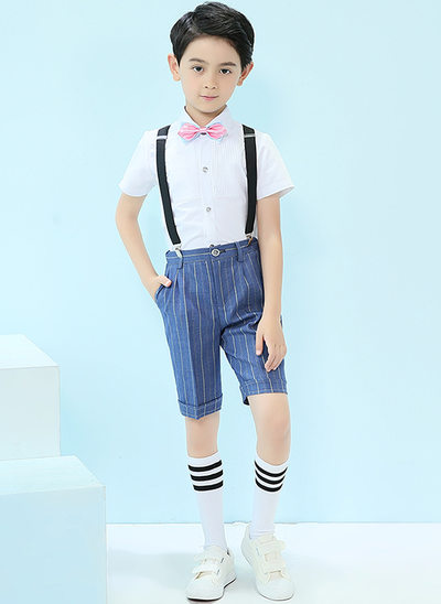 gutter 4 stykker Stripe Suits til ringbærere /Side Boy Suits med Skjorte sløyfe Suspender Shorts