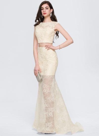 Corte A/Princesa Escote redondo Barrer/Cepillo tren Encaje Vestido de baile de promoción