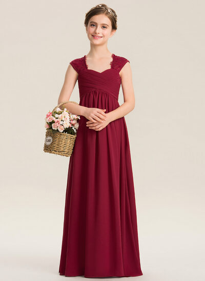Empire Sweetheart Floor-Length Chiffon Lace Junior Bridesmaid Dress With Ruffle