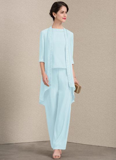Vestidos princesa/ Formato A Decote redondo Longos Tecido de seda Vestido para a mãe da noiva com Renda