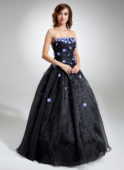 Ball-Gown Strapless Floor-Length Organza Quinceanera Dress With Beading Flower(s) Sequins