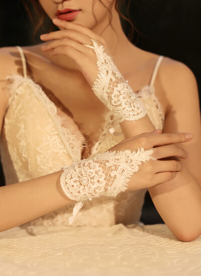 Tule/Kant Wrist Lengte Bruids Handschoenen met Imitatie Parel