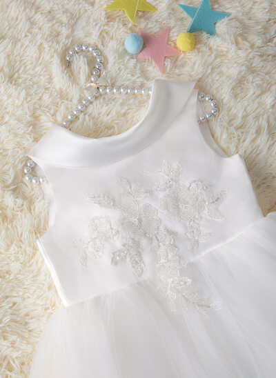 Ball-Gown/Princess Floor-length Flower Girl Dress - Satin/Tulle/Lace Sleeveless Scoop Neck With Beading/Bow(s)