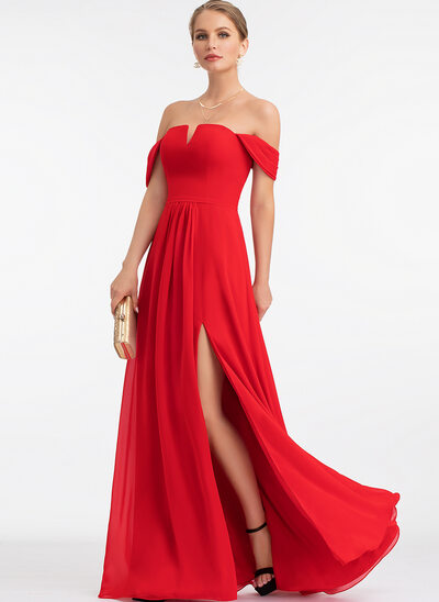 A-Line Off-the-Shoulder Floor-Length Chiffon Prom Dresses With Split Front