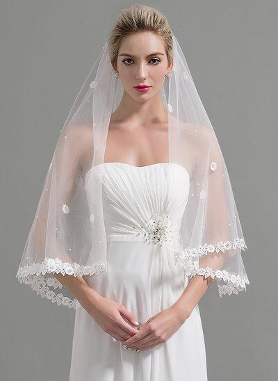 One-tier Lace Applique Edge Waltz Bridal Veils With Applique/Beading