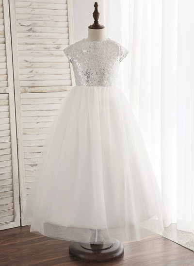Çan/Prenses Bilek boy Çiçek Kız Elbise - Tül/Sequined Kolsuz Yuvarlak Yaka Ile Arka delik