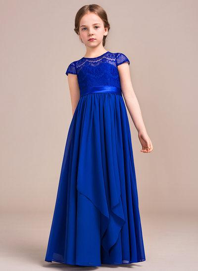 A-Linie/Princess-Linie U-Ausschnitt Bodenlang Chiffon Lace Kleid für junge Brautjungfern mit Schleife(n) Gestufte Rüschen