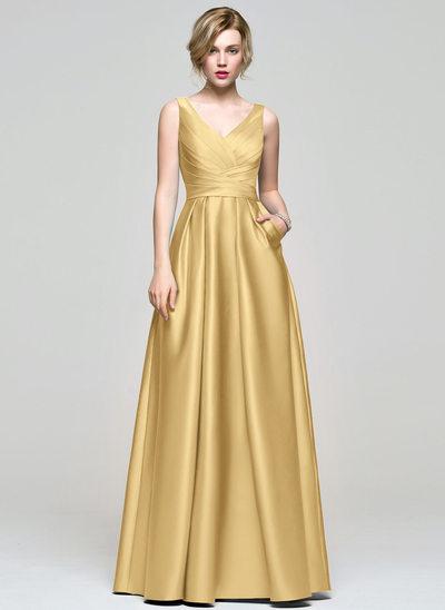 A-Line/Princess V-neck Floor-Length Satin Bridesmaid Dress With Ruffle Pockets