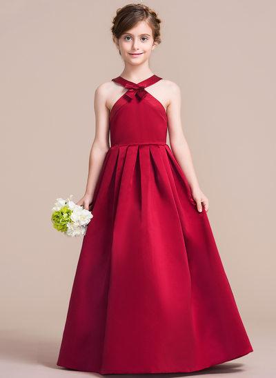 Corte A/Princesa Escote redondo Hasta el suelo Satén Vestido de Damita de honor con Lazo(s)