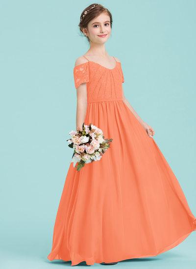 Vestidos princesa/ Formato A Decote V Longos Tecido de seda Vestido de daminha júnior com Pregueado