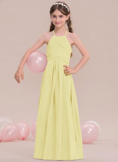 Princesový Kruhový výstřih Délka na zem Šifón Šaty pro mladou družičku S Volán