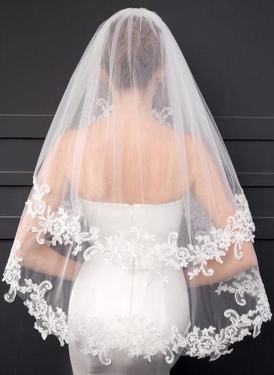 Due strati Bordi in pizzo Velare da sposa gomito con Pizzo