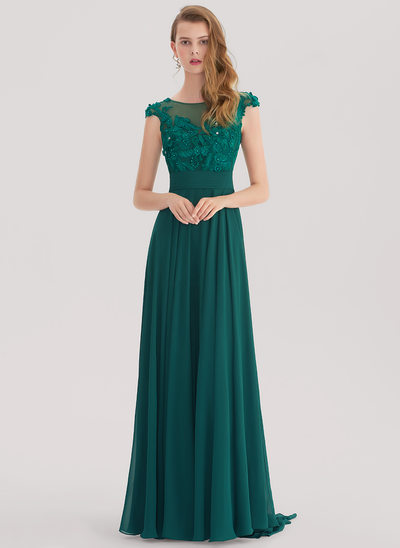 A-Line/Princess Scoop Neck Sweep Train Chiffon Prom Dress With Lace Beading