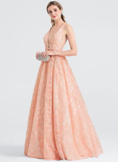 Çan/Prenses V yaka Uzun Etekli Dantel Mezuniyet Elbisesi