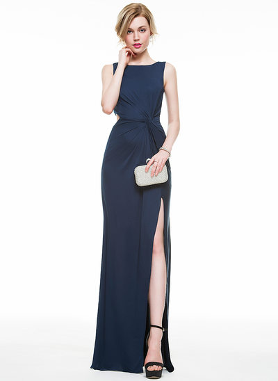 Sheath/Column Scoop Neck Floor-Length Jersey Prom Dresses With Ruffle Split Front