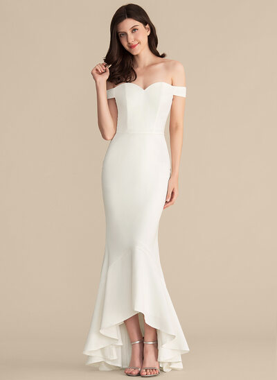 Trumpet/Mermaid Off-the-Shoulder Asymmetrical Stretch Crepe Bridesmaid Dress With Cascading Ruffles