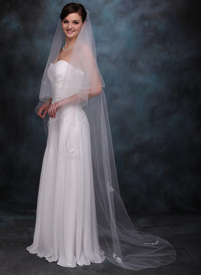 Two-tier Chapel Bridal Veils With Pencil Edge