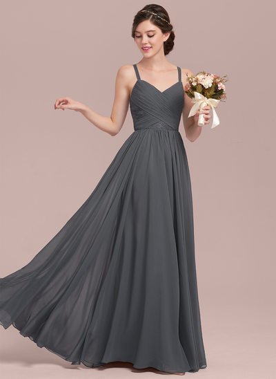 A-Lijn/Prinses Liefje Vloer lengte De Chiffon Kant Bruidsmeisjes Jurk met Roes