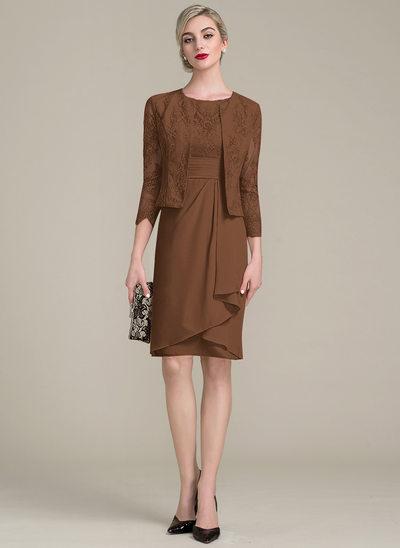 Etui-Linie U-Ausschnitt Knielang Chiffon Spitze Kleid für die Brautmutter mit Gestufte Rüschen