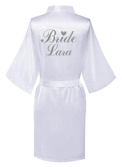 Individualisiert Braut Brautjungfern Satin mit Kurz Personalisierte Roben Satin Roben