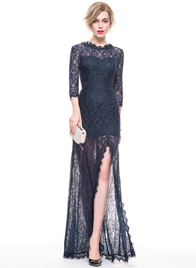 A-Line/Princess Scoop Neck Floor-Length Lace Evening Dress With Split Front