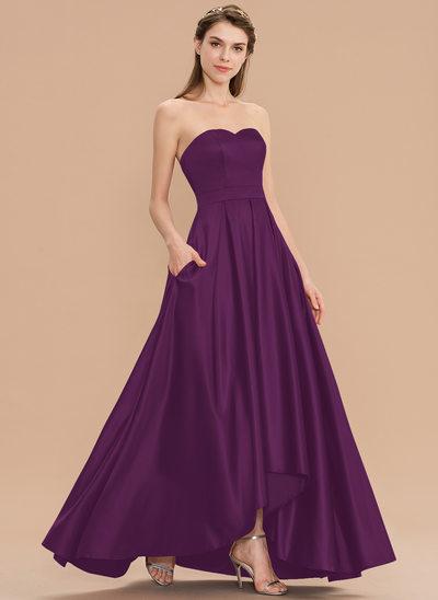 A-Linie Schatz Asymmetrisch Satin Brautjungfernkleid mit Taschen