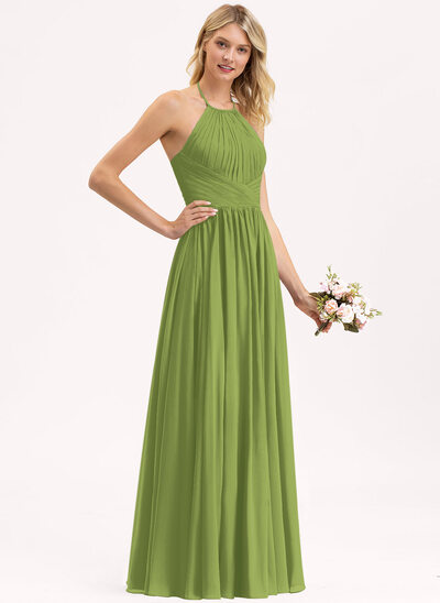 Empire Halter Floor-Length Chiffon Bridesmaid Dress With Ruffle Bow(s)